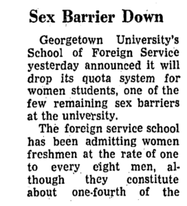 Washington Post talking about the admittance of women at the School of Foreign Service