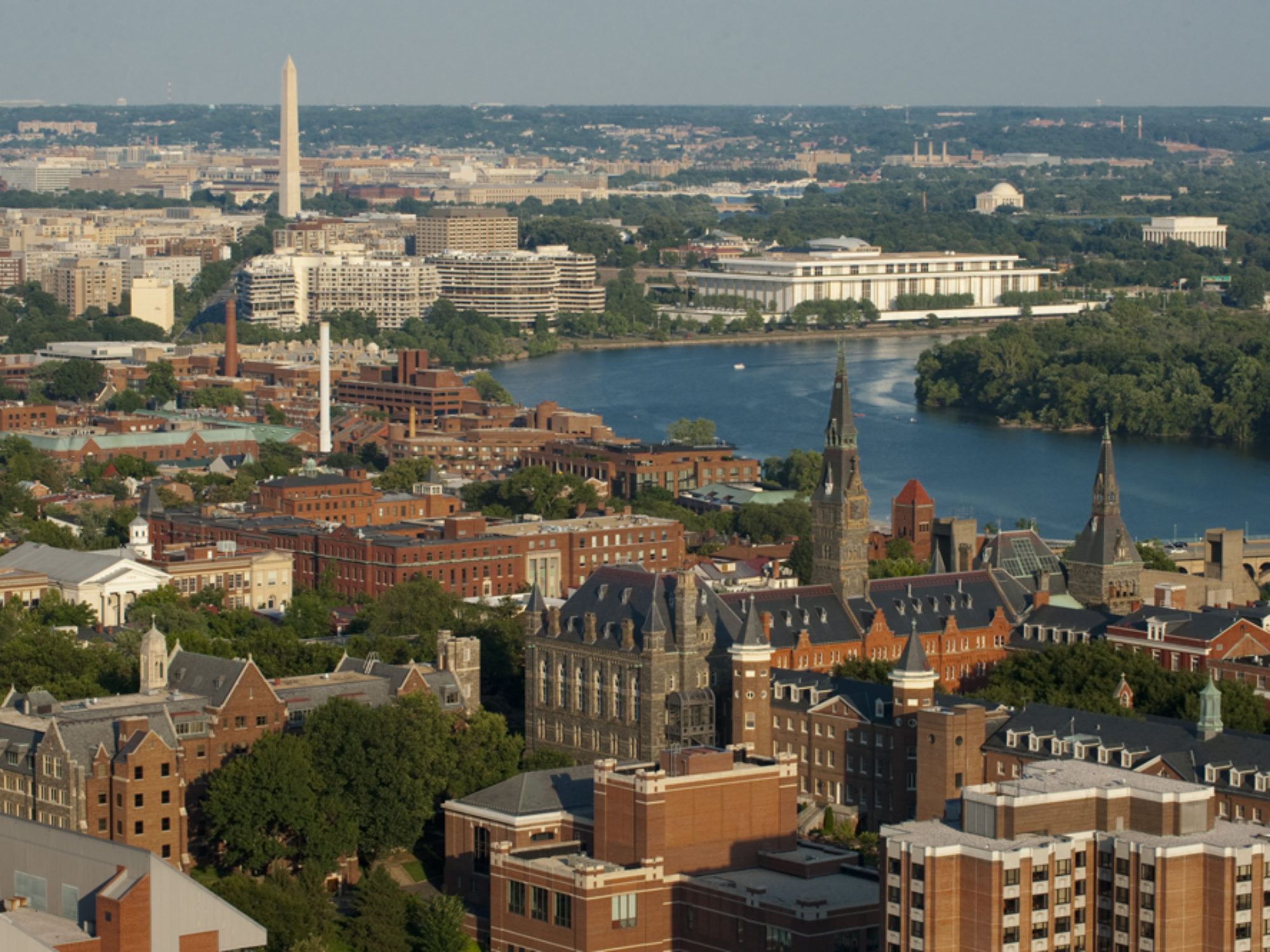 Georgetown University Ariel Shot with DC in Background