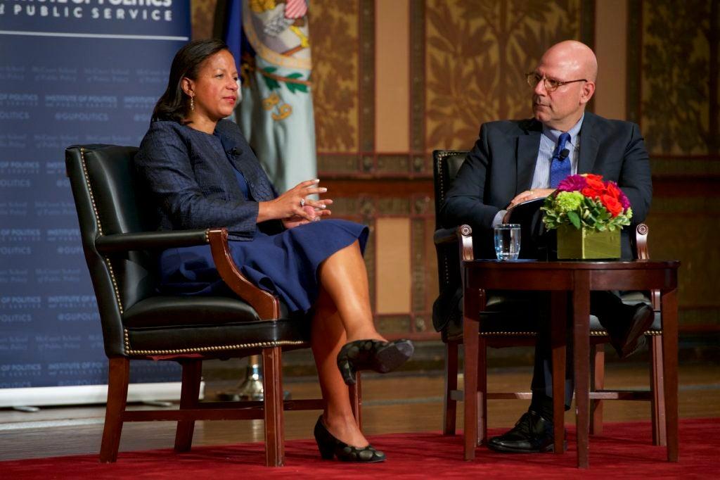 Dean Joel Hellman interviewing Ambassador Susan Rice