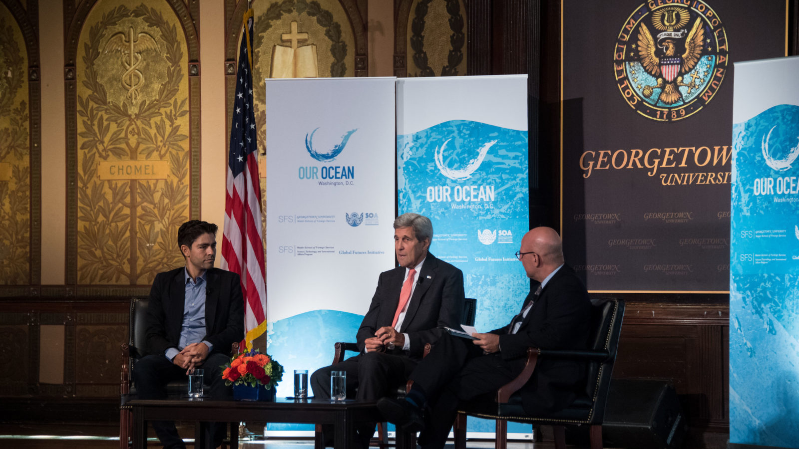 John Kerry, Adrian Grenier and Joel Hellman on Gason Stage