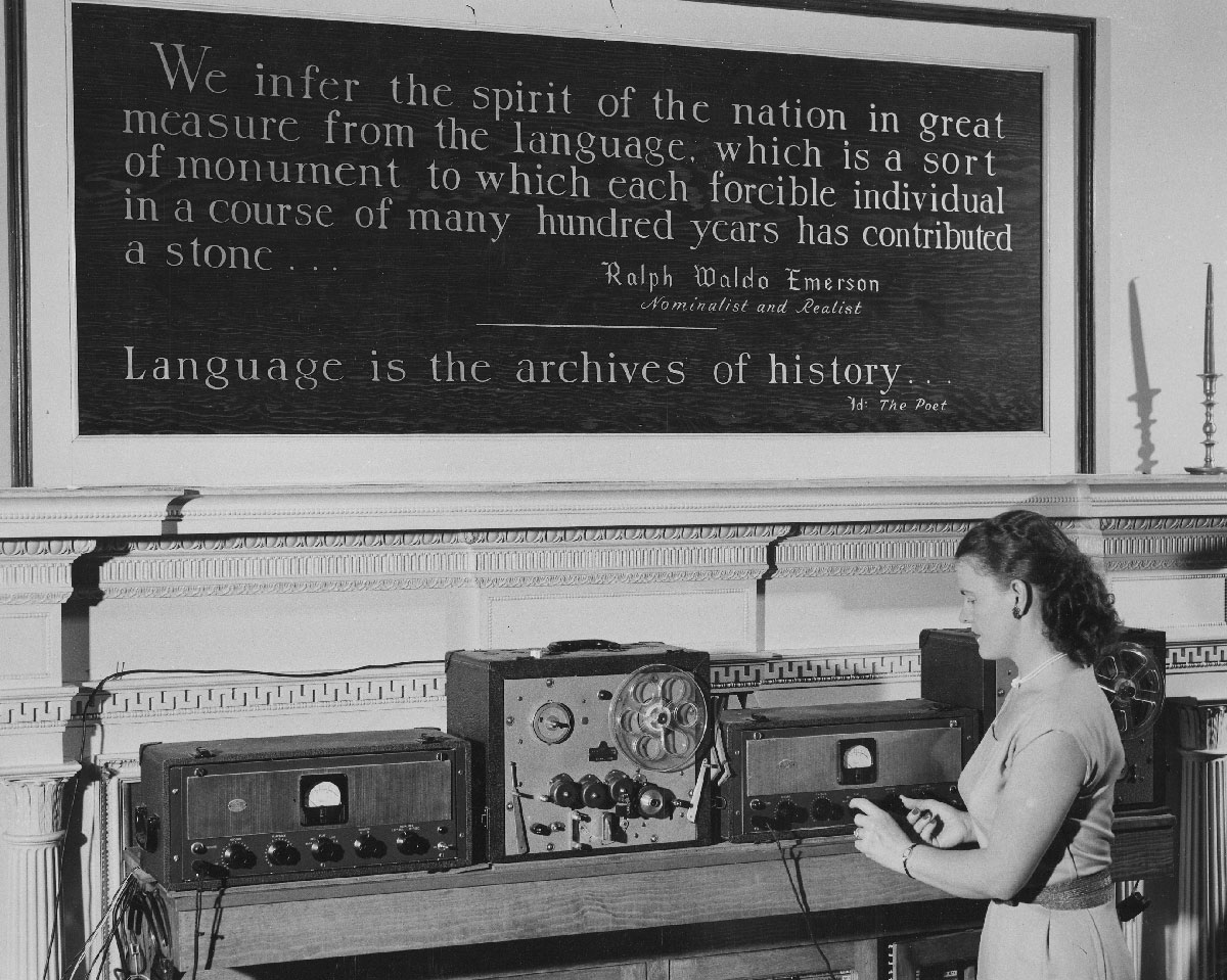 A student in the language laboratory at Georgetown University's Institute of Languages and Linguistics in 1950