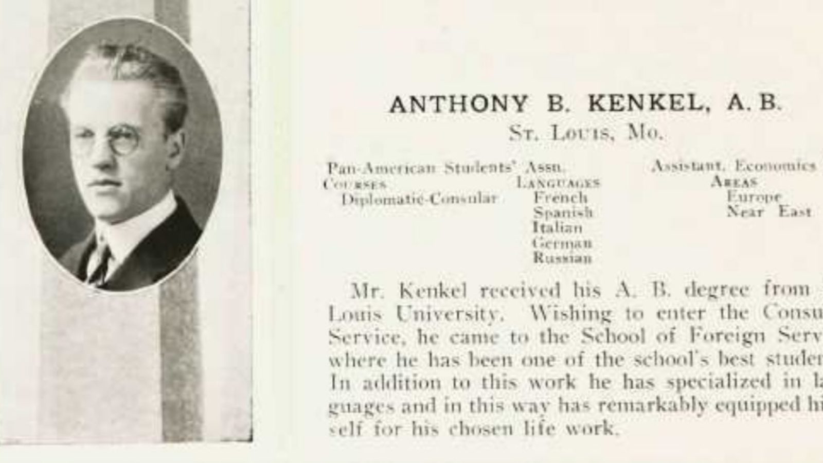 Anthony B. Kenkel Yearbook Entry