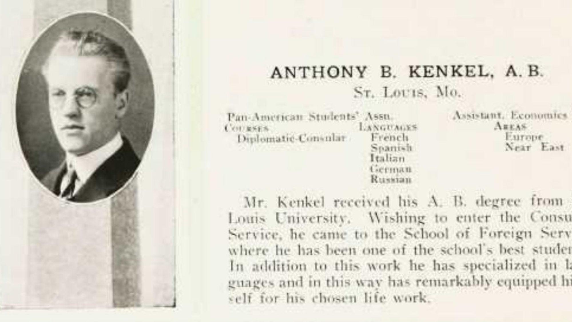 Anthony B. Kenkel Yearbook Entry