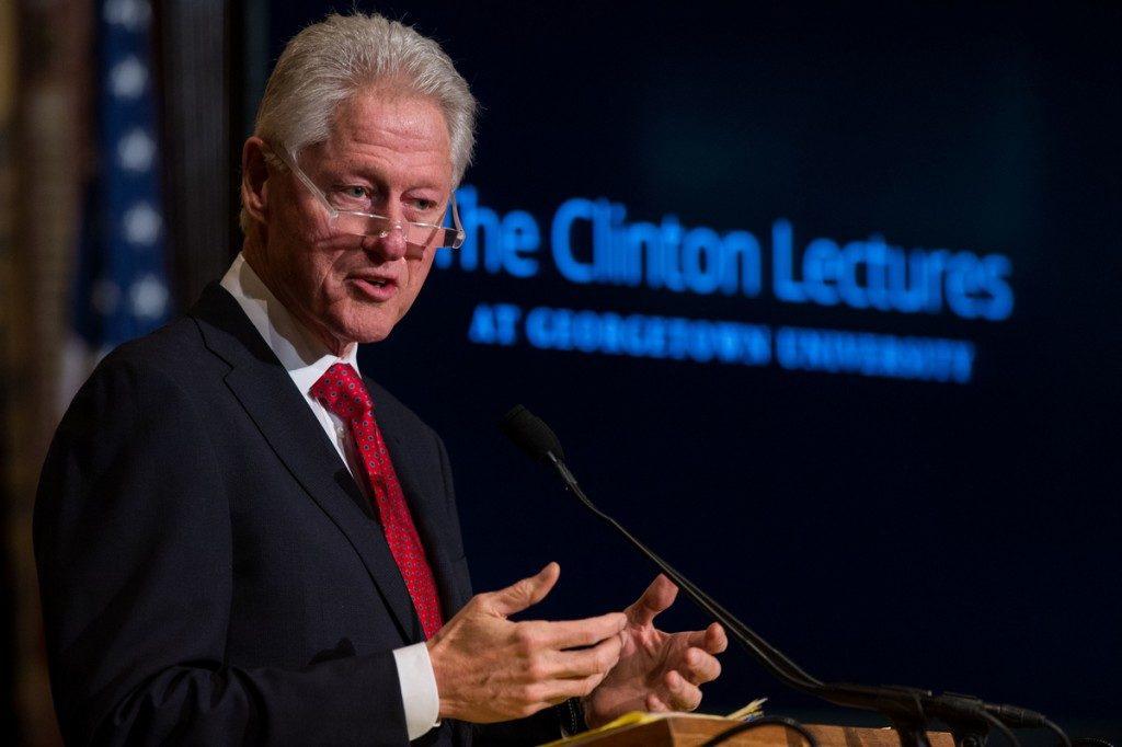 Bill Clinton speaking at Podium