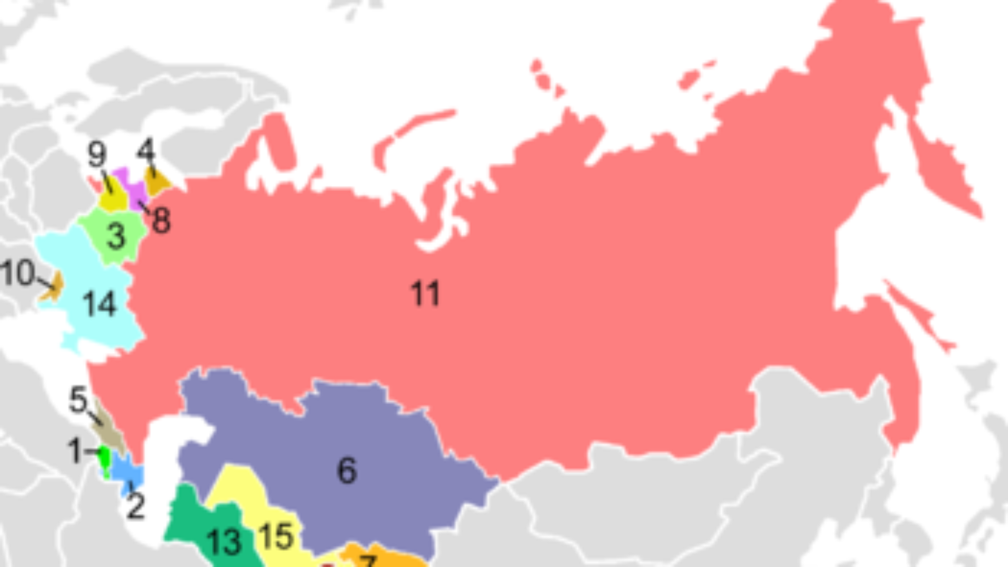 Map of the collapsed Soviet Union