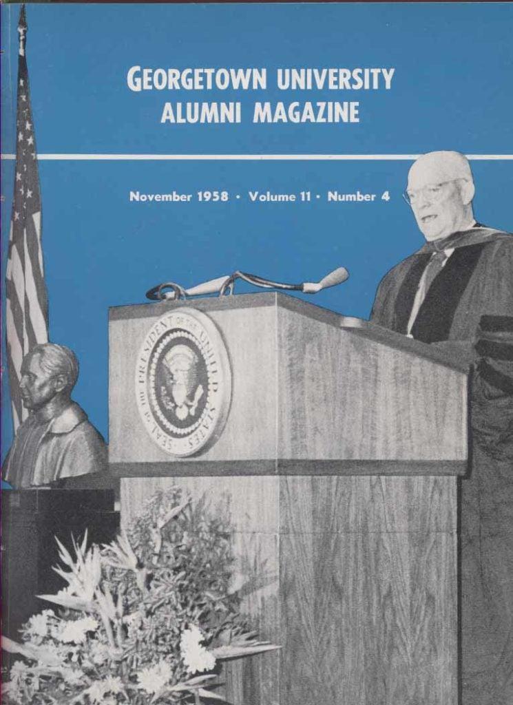 Eisenhower at Walsh dedication_Alumni Magazine November 1958