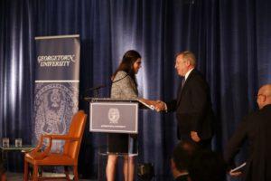 Senator Durbin shaking the hand of Cristina Velasquez