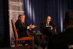 Senator Durbin talking with Dean Hellman