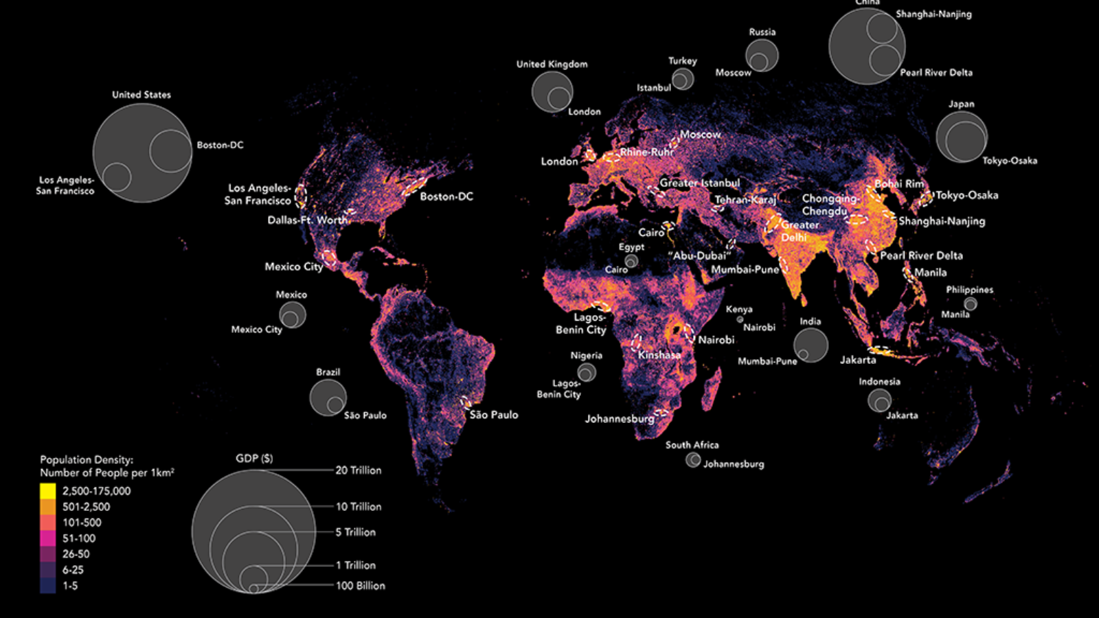 Map of Global Population Density