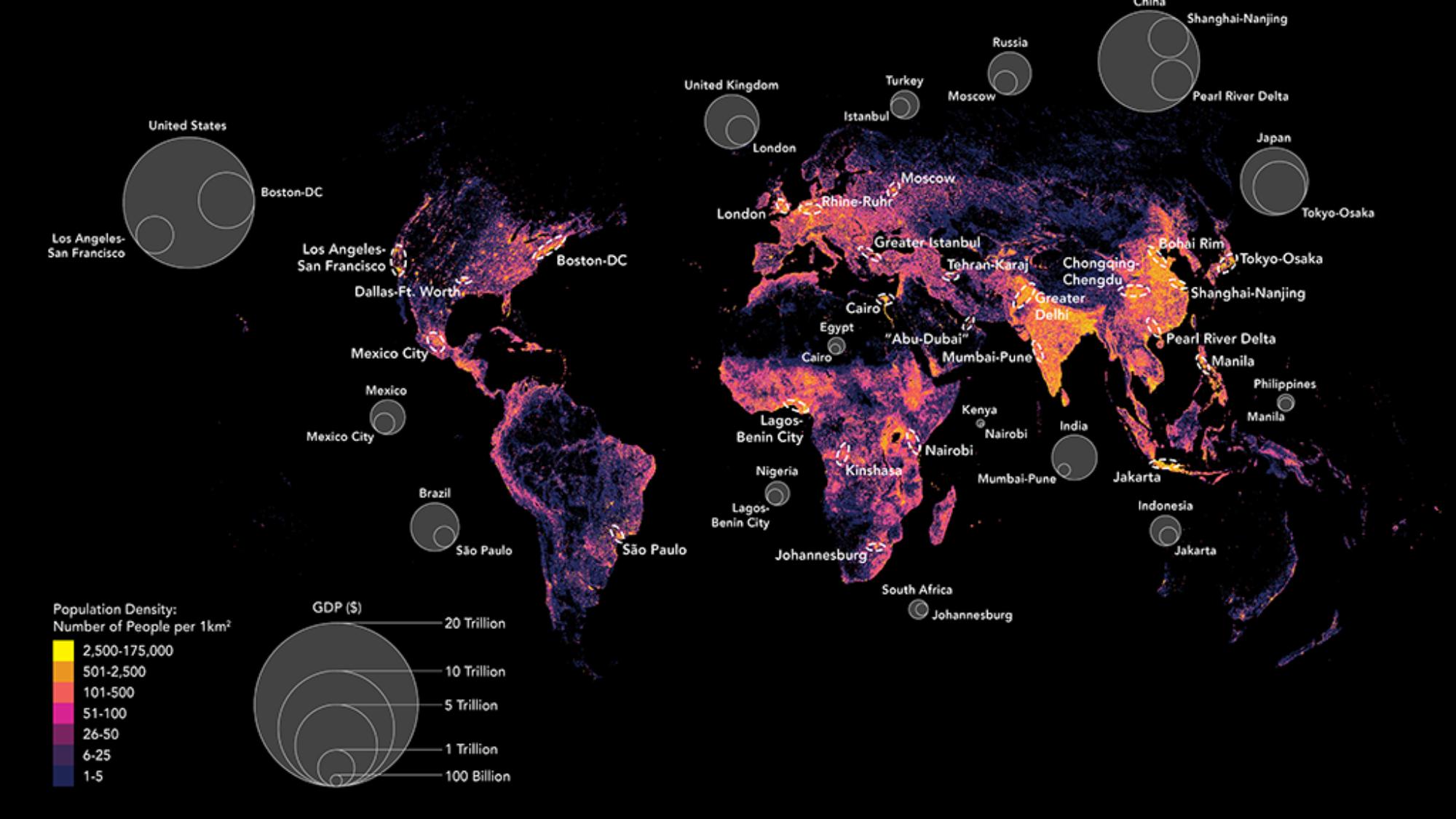 Map of Global Population Density