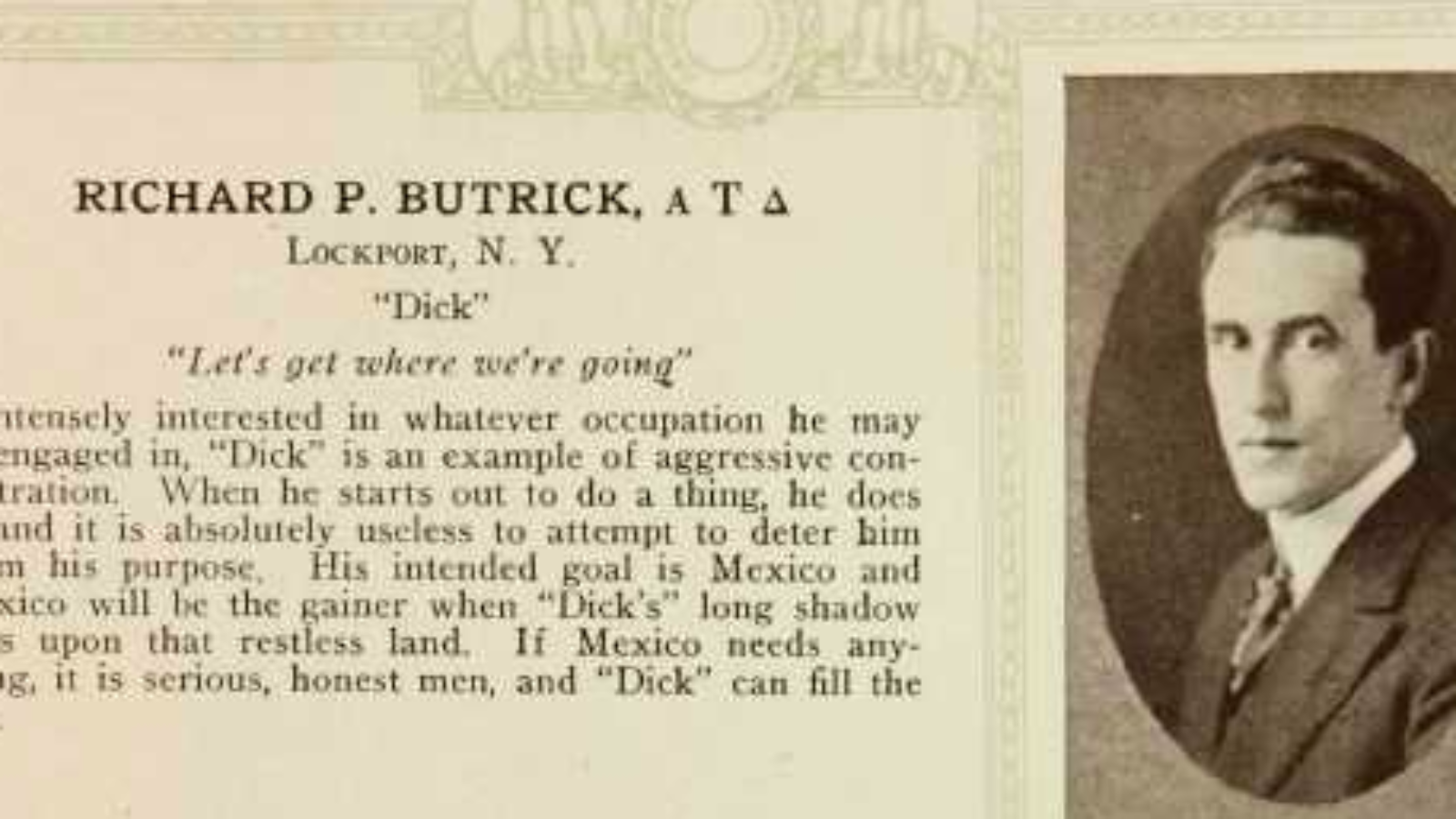 Richard P. Butrick yearbook photo