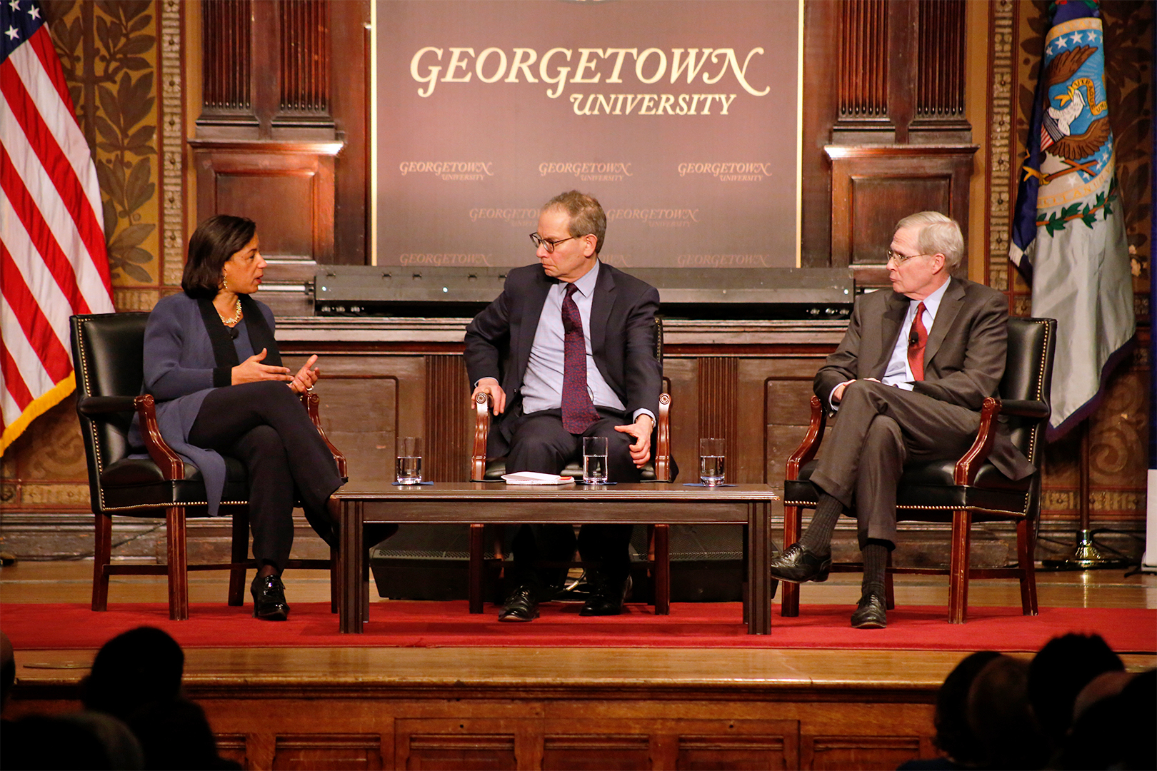 Stephen Hadley and Susan Rice speaking in Gatson Hall