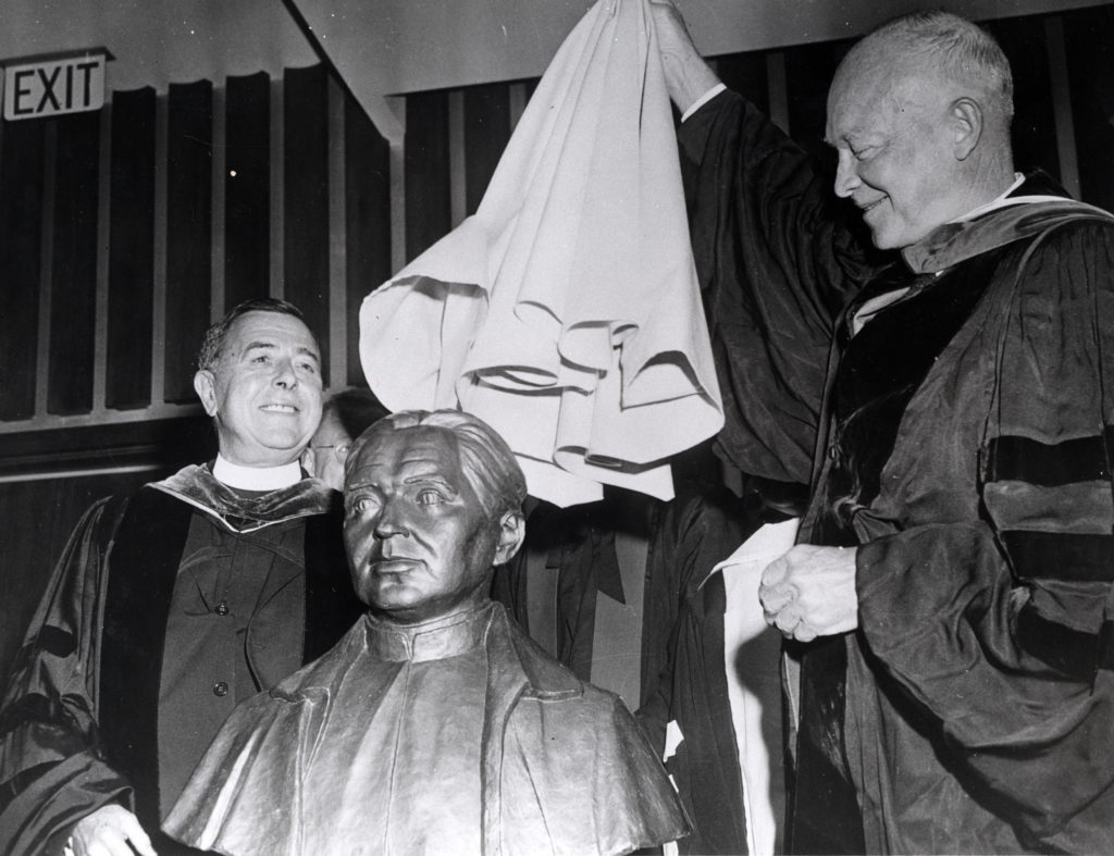 Unveiling of a Statue; Eisenhower dedicates the Walsh Building