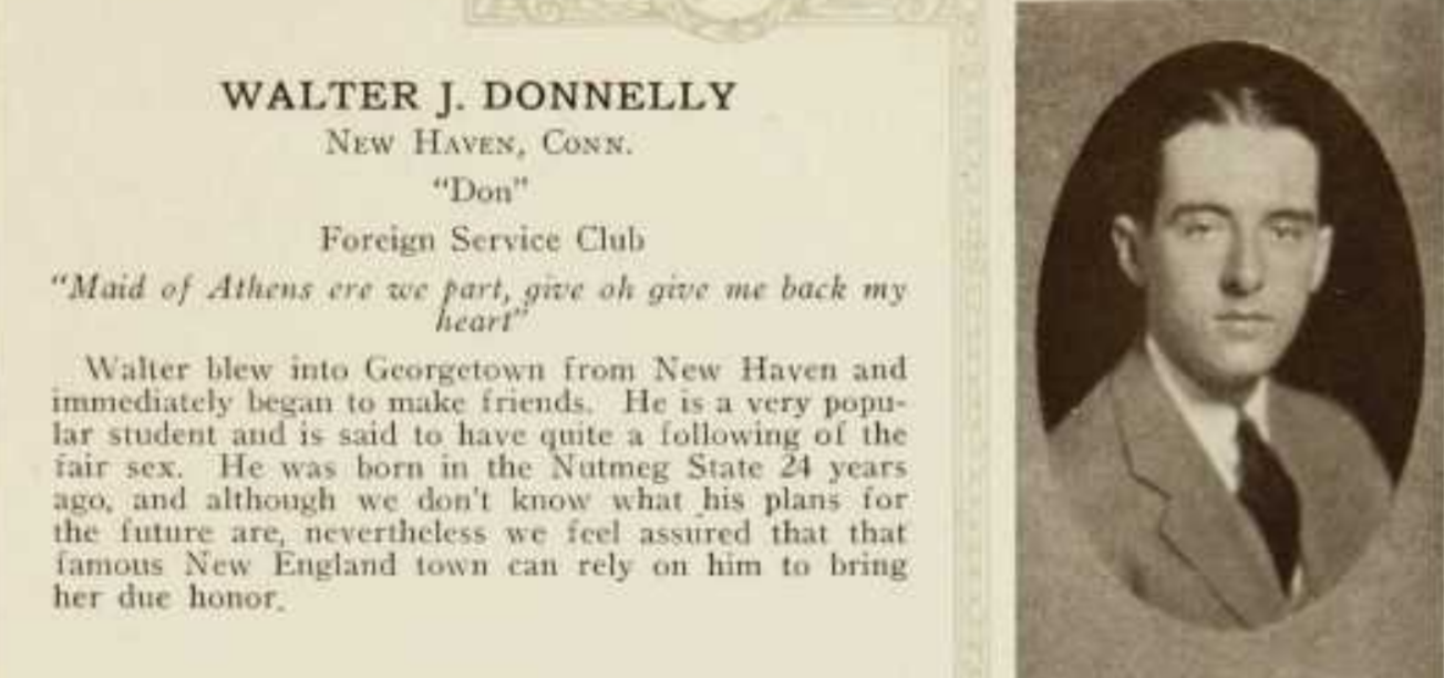 Walter J. Donnelly Yearbook entry