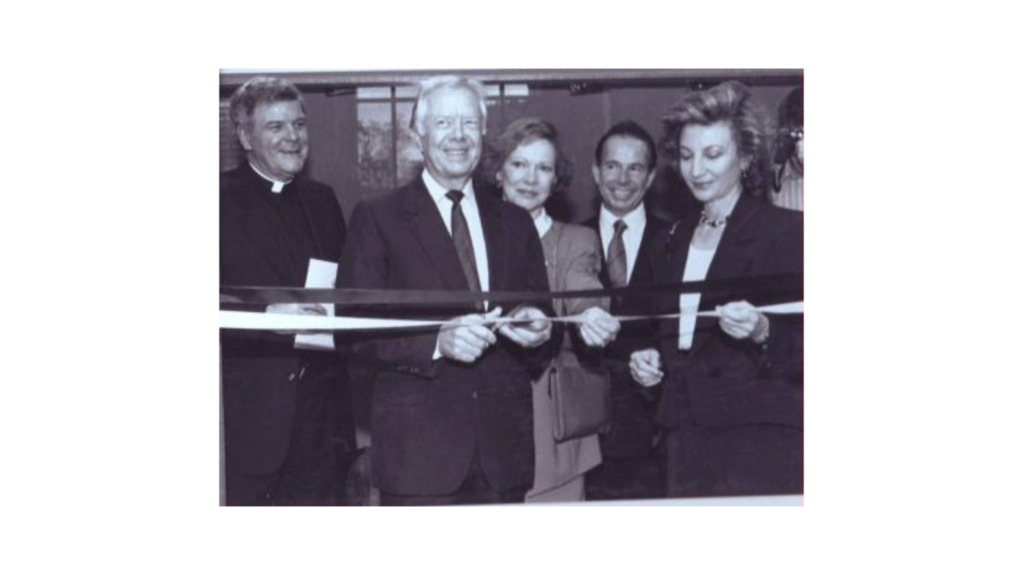 Jimmy Carter cutting ribbon for the ICC