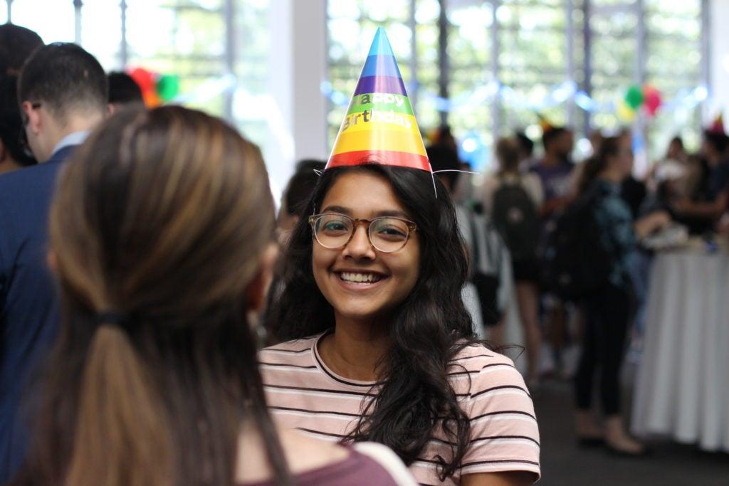 Students at SFS birthday bash