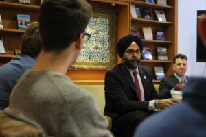 Gurbir S. Grewal, Attorney General of the State of New Jersey, giving a coffee chat with students on February 27th, 2020.