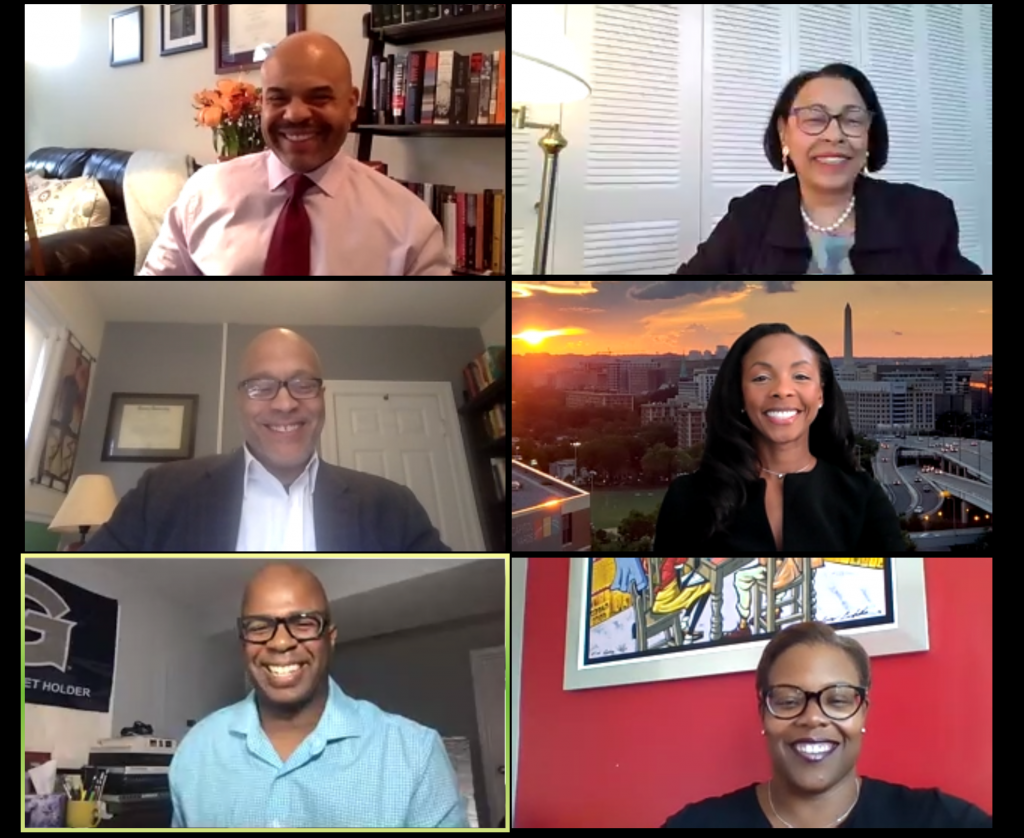 Screenshot of Zoom call featuring event panelists.