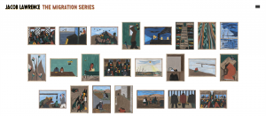 Screenshot of the digital Jacob Lawrence exhibition at the Phillips Collection. It features numerous artwork on a webpage.