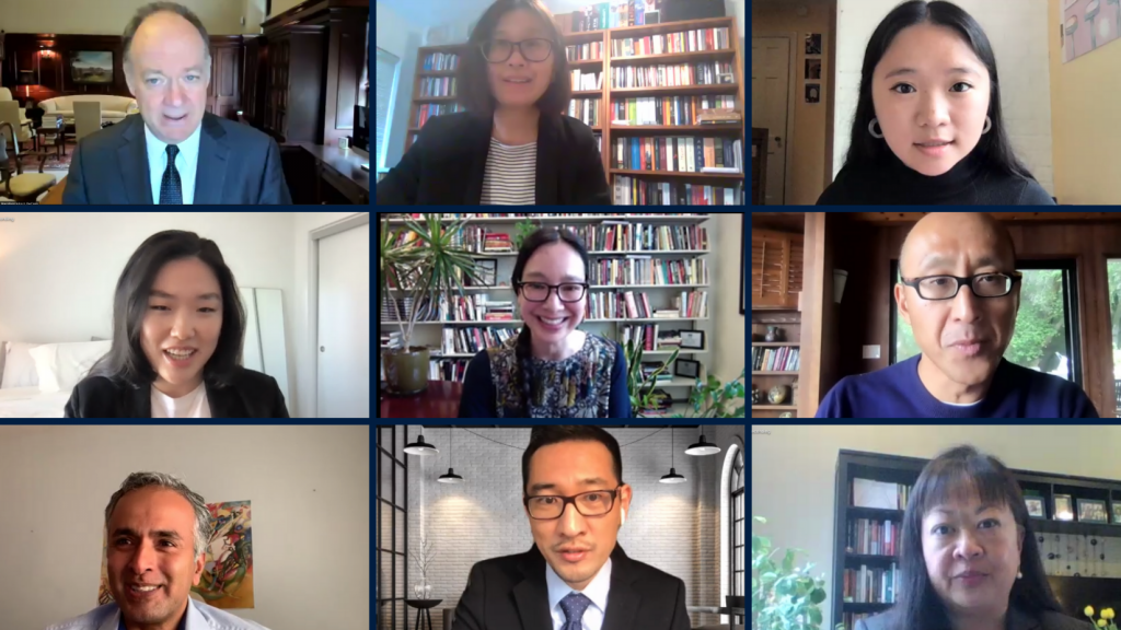 Screenshot of a Zoom screen featuring all panelists at the event exploring anti-Asian racism.