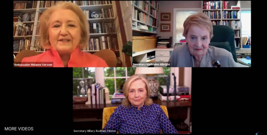 A gallery view of a Zoom event featuring Secretaries of State Hillary R. Clinton and Madeleine K. Albright and moderated by Amb. Melanne Verveer