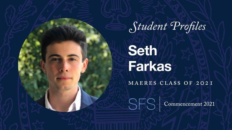 Thumbnail photo of Seth Farkas's (MAERES'21) commencement video profile.