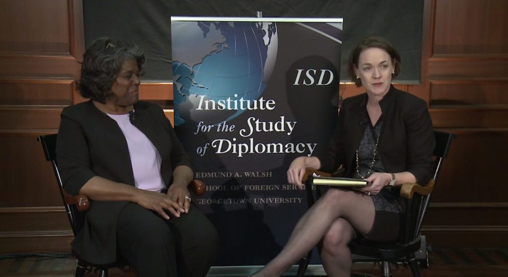 Photo of an interview with U.S. Ambassador to the UN Linda Thomas-Greenfield for the Diverse Diplomacy  Series
