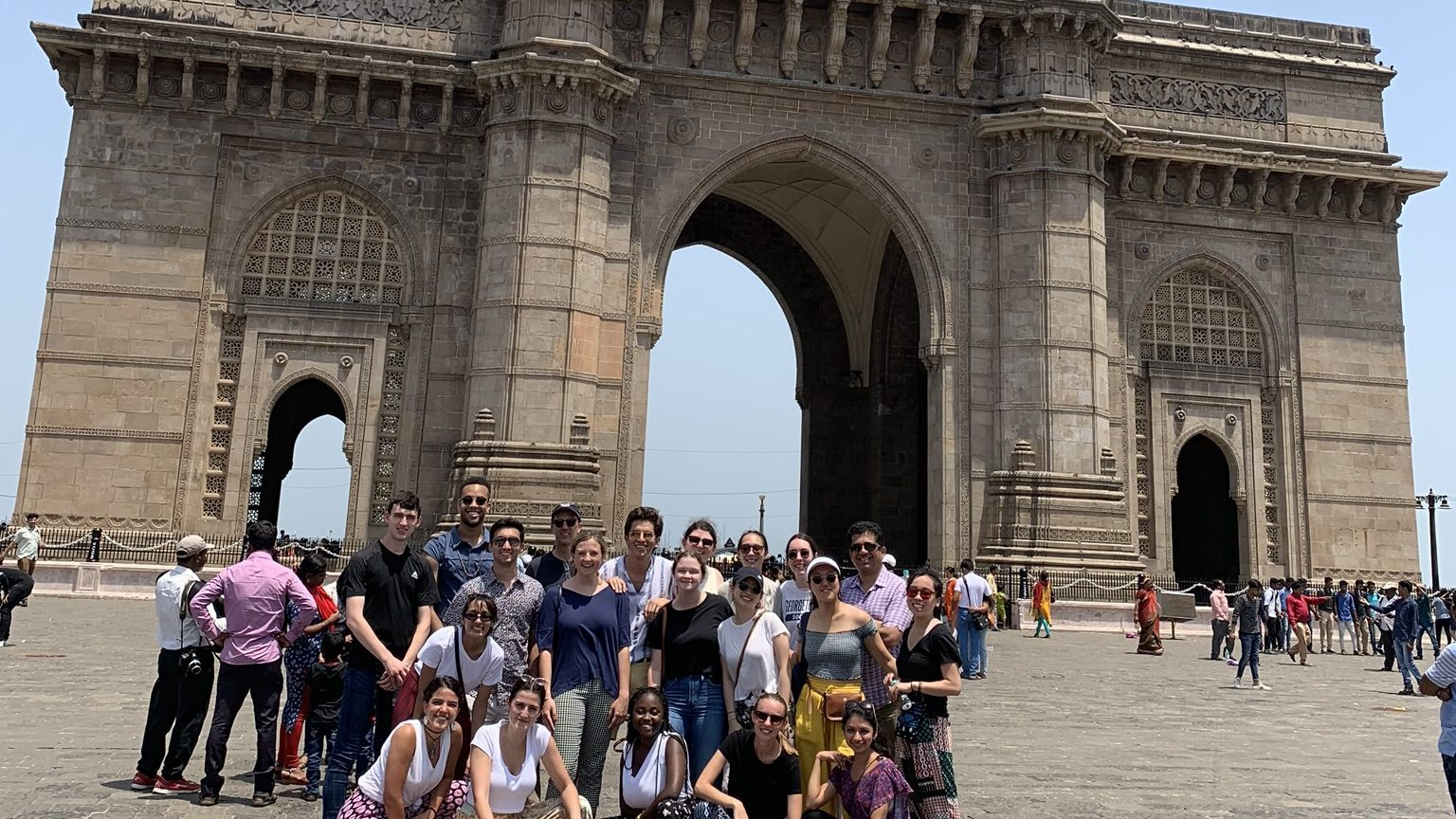 Group photo of India Innovation Studio in front of the Gateway of India.