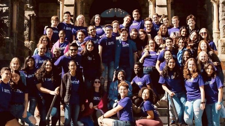 Students wearing purple