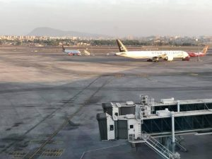 Photo of a Star Airlines jet taken out of an airport window