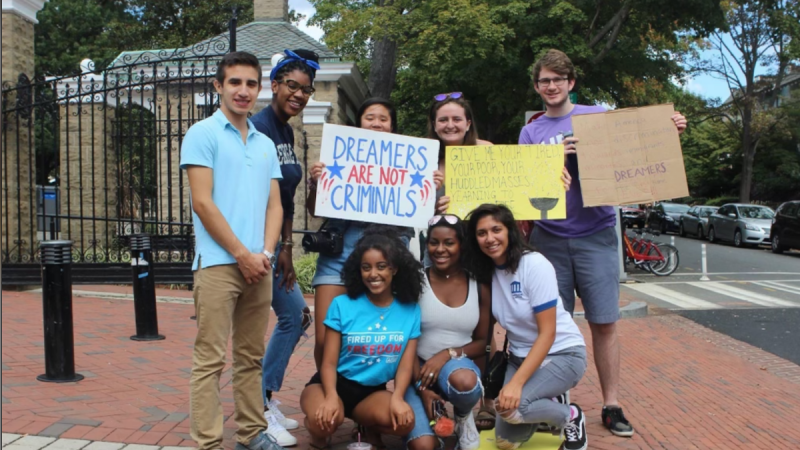 Bemnet Assefa protesting for Dreamers