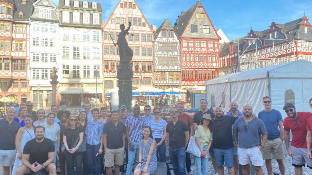 A group of students are posing in front of a row of traditional German homes.