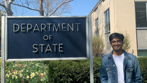Gupta poses in front of the U.S. State Department building.