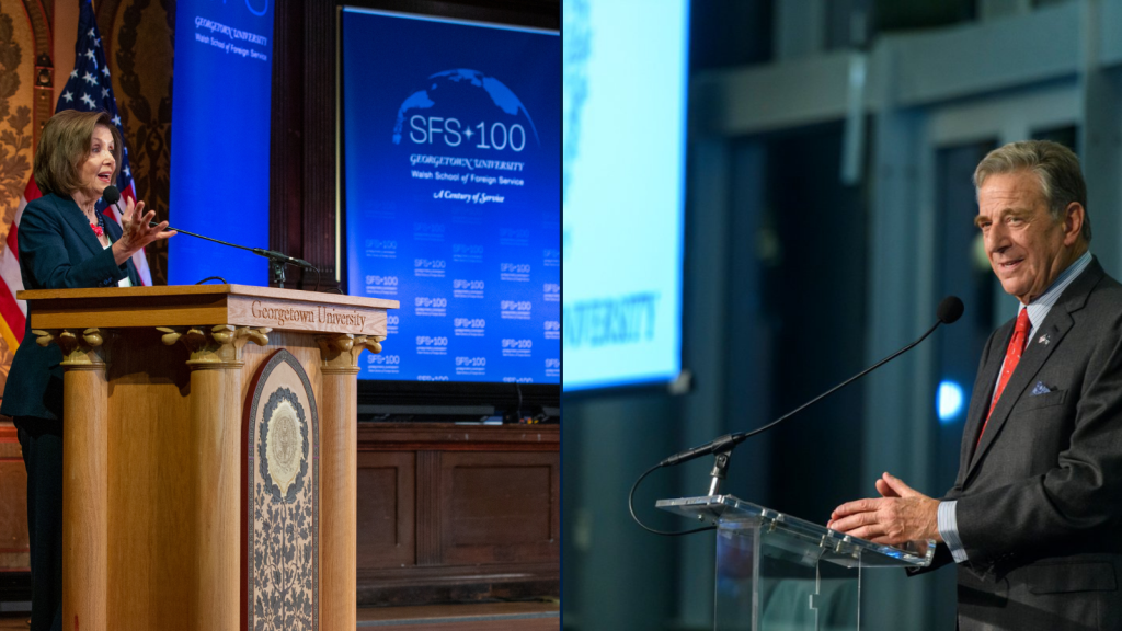 Compound image. On right, Nancy Pelosi speaks at a podium in Georgetown's Gaston Hall. SFS 100 banners are behind her. On left, Paul Pelosi speaks at a podium in a conference hall. The Georgetown seal is on a screen behind him.